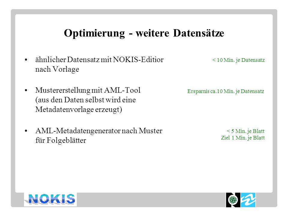 Optimierung - weitere Datensätze ähnlicher Datensatz mit NOKIS-Editior nach Vorlage Mustererstellung mit AML-Tool (aus den Daten selbst wird eine Metadatenvorlage erzeugt) AML-Metadatengenerator nach Muster für Folgeblätter Ersparnis ca.10 Min.
