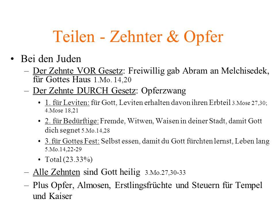 Teilen - Zehnter & Opfer Bei den Juden –Der Zehnte VOR Gesetz: Freiwillig gab Abram an Melchisedek, für Gottes Haus 1.Mo.