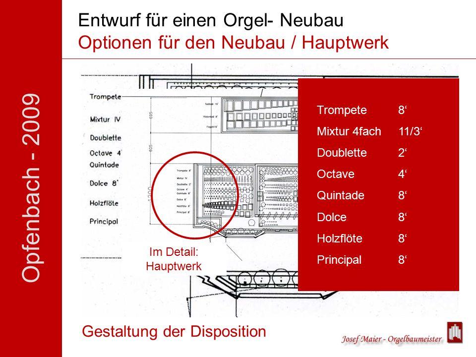 Opfenbach - 2009 Entwurf für einen Orgel- Neubau Optionen für den Neubau / Hauptwerk Gestaltung der Disposition Im Detail: Hauptwerk Trompete 8' Mixtur 4fach11/3' Doublette 2' Octave 4' Quintade 8' Dolce 8' Holzflöte 8' Principal8'