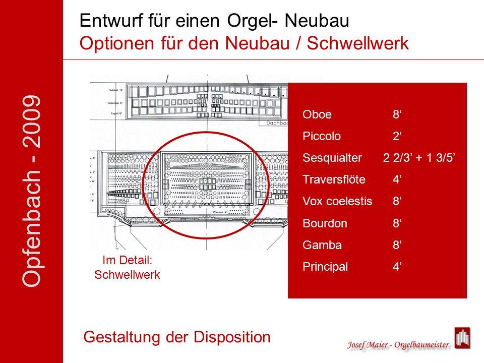 Opfenbach - 2009 Entwurf für einen Orgel- Neubau Optionen für den Neubau / Schwellwerk Gestaltung der Disposition Im Detail: Schwellwerk Oboe 8' Piccolo2' Sesquialter 2 2/3' + 1 3/5' Traversflöte4' Vox coelestis8' Bourdon8' Gamba8' Principal4'