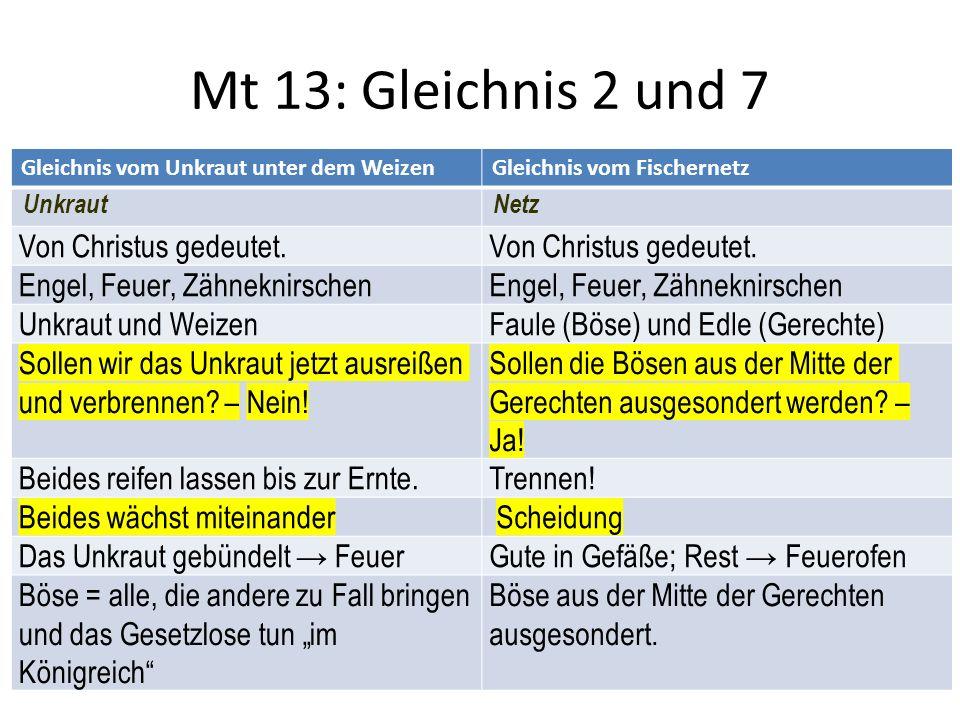 Mt 13: Gleichnis 2 und 7 Gleichnis vom Unkraut unter dem WeizenGleichnis vom Fischernetz UnkrautNetz Von Christus gedeutet.