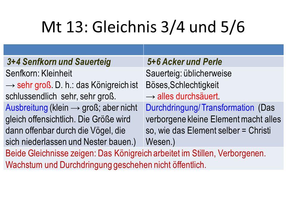 Mt 13: Gleichnis 3/4 und 5/6 3+4 Senfkorn und Sauerteig5+6 Acker und Perle Senfkorn: Kleinheit → sehr groß.