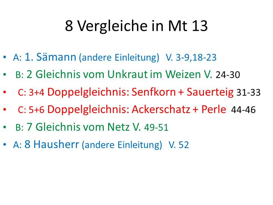 8 Vergleiche in Mt 13 A: 1.Sämann (andere Einleitung) V.