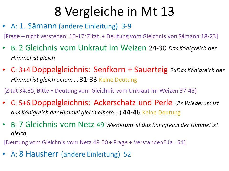 8 Vergleiche in Mt 13 A: 1.Sämann (andere Einleitung) 3-9 [Frage – nicht verstehen.