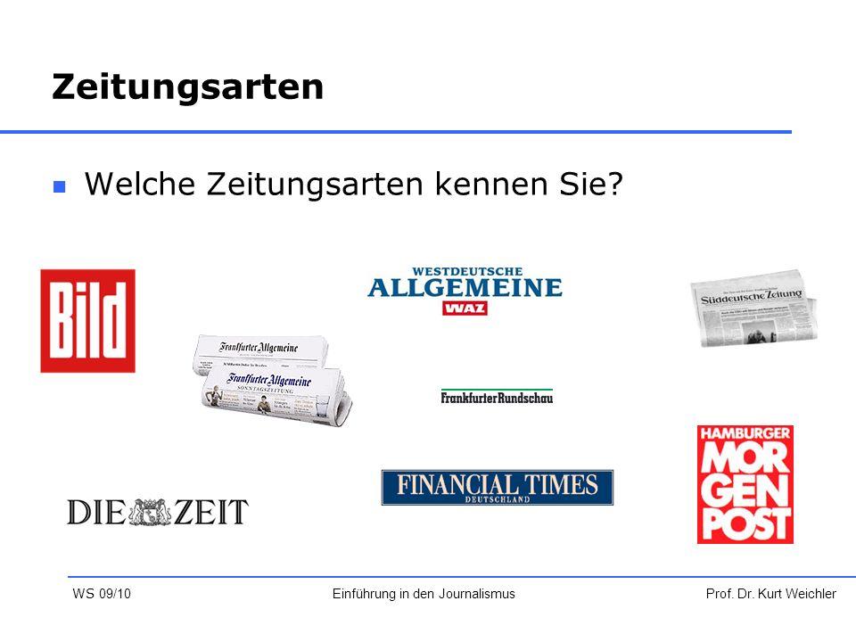Zeitungsarten Welche Zeitungsarten kennen Sie? Prof. Dr. Kurt WeichlerEinführung in den Journalismus WS 09/10