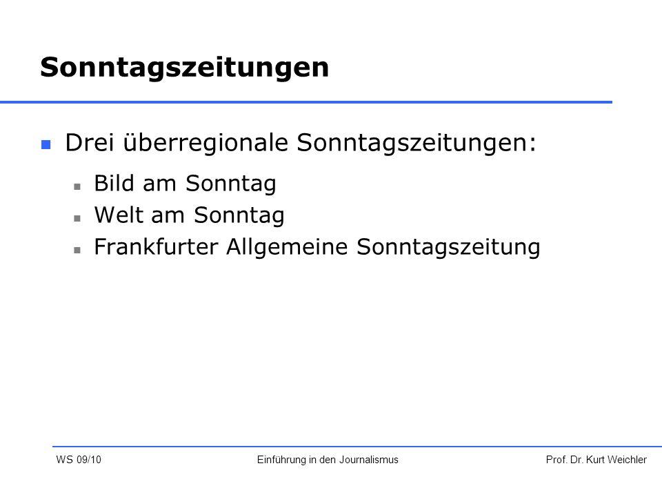 Sonntagszeitungen Drei überregionale Sonntagszeitungen: Bild am Sonntag Welt am Sonntag Frankfurter Allgemeine Sonntagszeitung Prof. Dr. Kurt Weichler