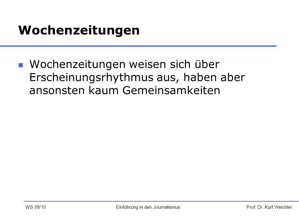 Wochenzeitungen Wochenzeitungen weisen sich über Erscheinungsrhythmus aus, haben aber ansonsten kaum Gemeinsamkeiten Prof. Dr. Kurt WeichlerEinführung