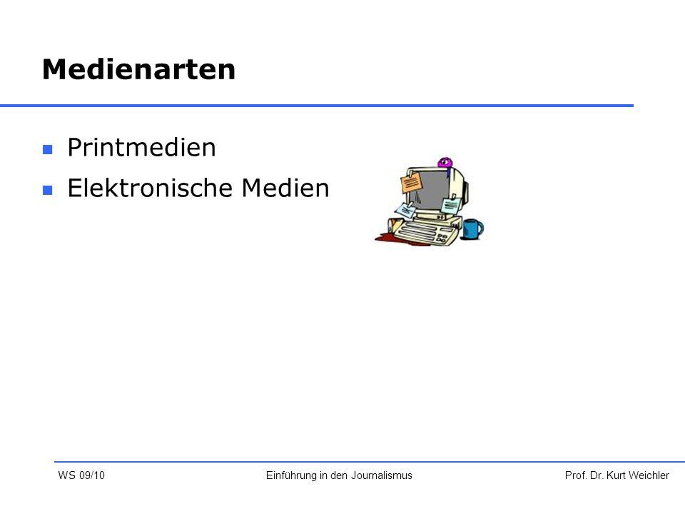 Medienarten Printmedien Elektronische Medien Prof. Dr. Kurt WeichlerEinführung in den Journalismus WS 09/10