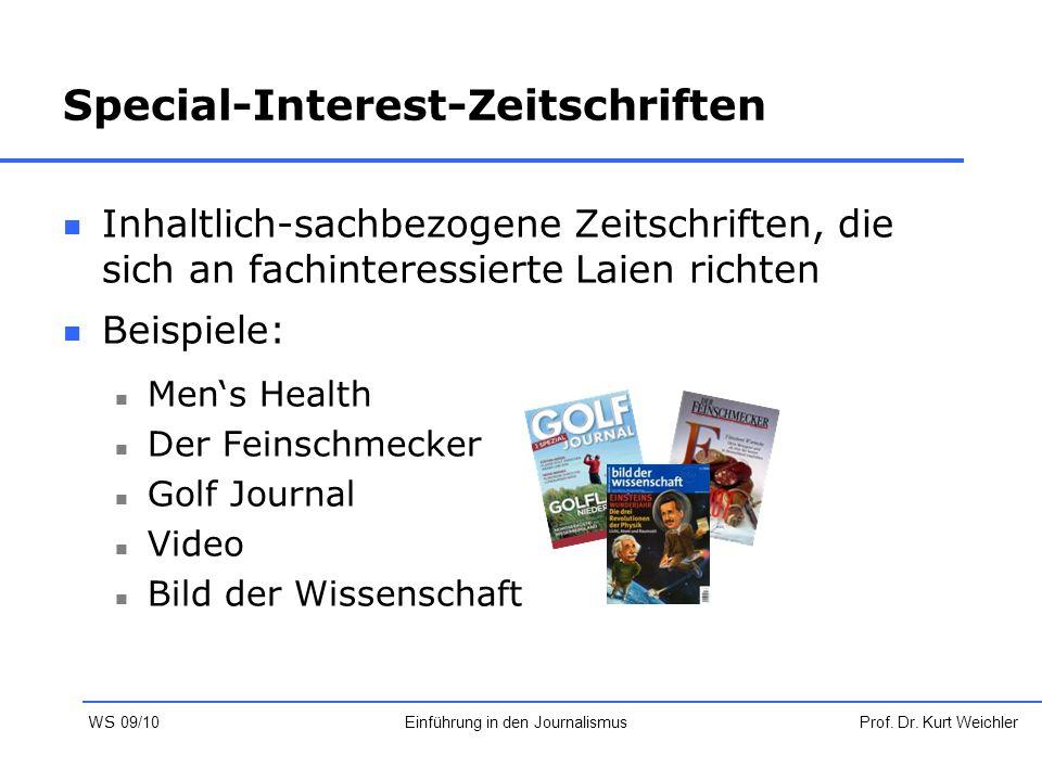 Special-Interest-Zeitschriften Inhaltlich-sachbezogene Zeitschriften, die sich an fachinteressierte Laien richten Beispiele: Men's Health Der Feinschm