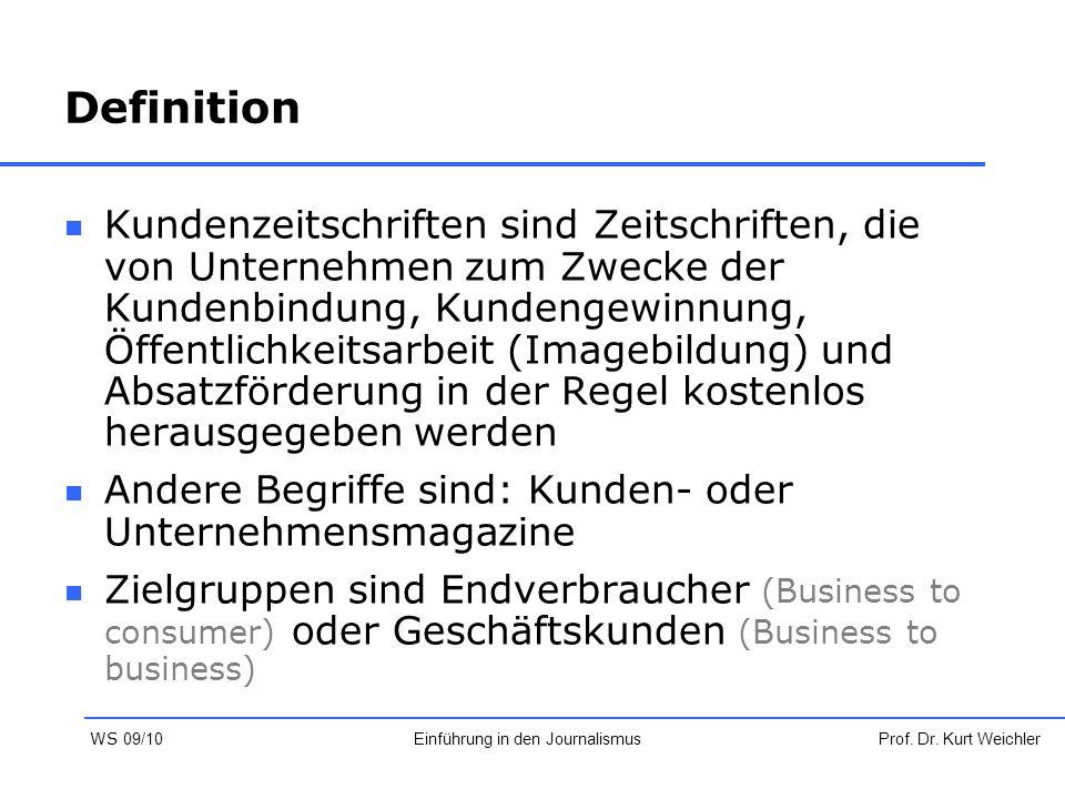 Definition Kundenzeitschriften sind Zeitschriften, die von Unternehmen zum Zwecke der Kundenbindung, Kundengewinnung, Öffentlichkeitsarbeit (Imagebild