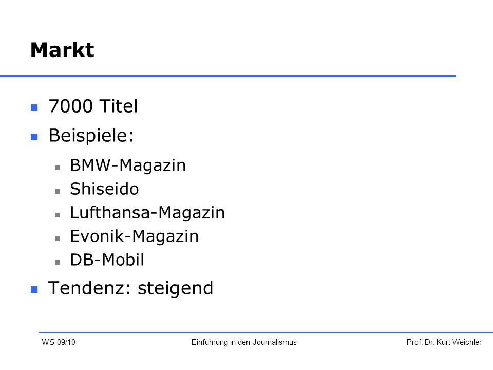 Markt 7000 Titel Beispiele: BMW-Magazin Shiseido Lufthansa-Magazin Evonik-Magazin DB-Mobil Tendenz: steigend Prof. Dr. Kurt WeichlerEinführung in den