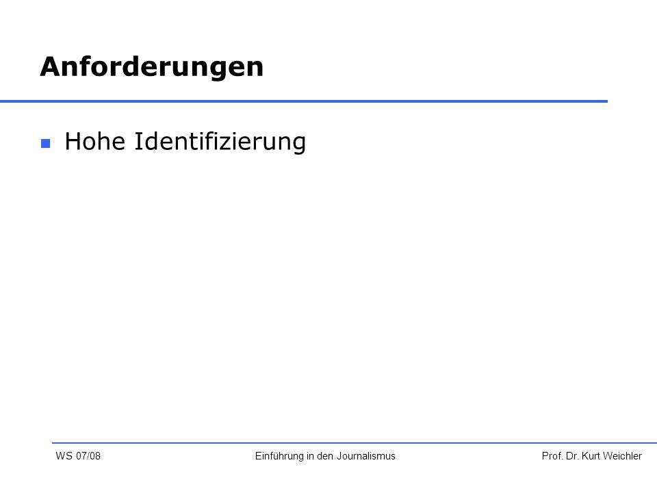 Anforderungen Hohe Identifizierung Prof. Dr. Kurt WeichlerEinführung in den Journalismus WS 07/08