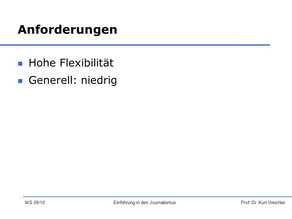 Anforderungen Hohe Flexibilität Generell: niedrig Prof. Dr. Kurt WeichlerEinführung in den Journalismus WS 09/10