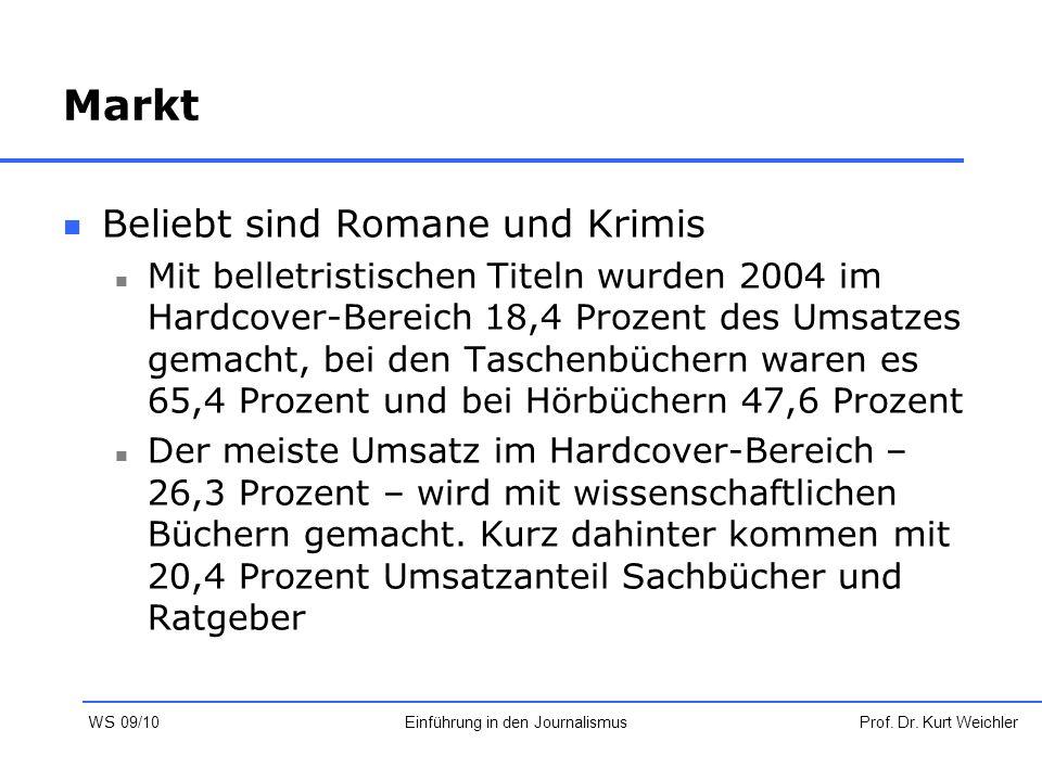 Markt Beliebt sind Romane und Krimis Mit belletristischen Titeln wurden 2004 im Hardcover-Bereich 18,4 Prozent des Umsatzes gemacht, bei den Taschenbü