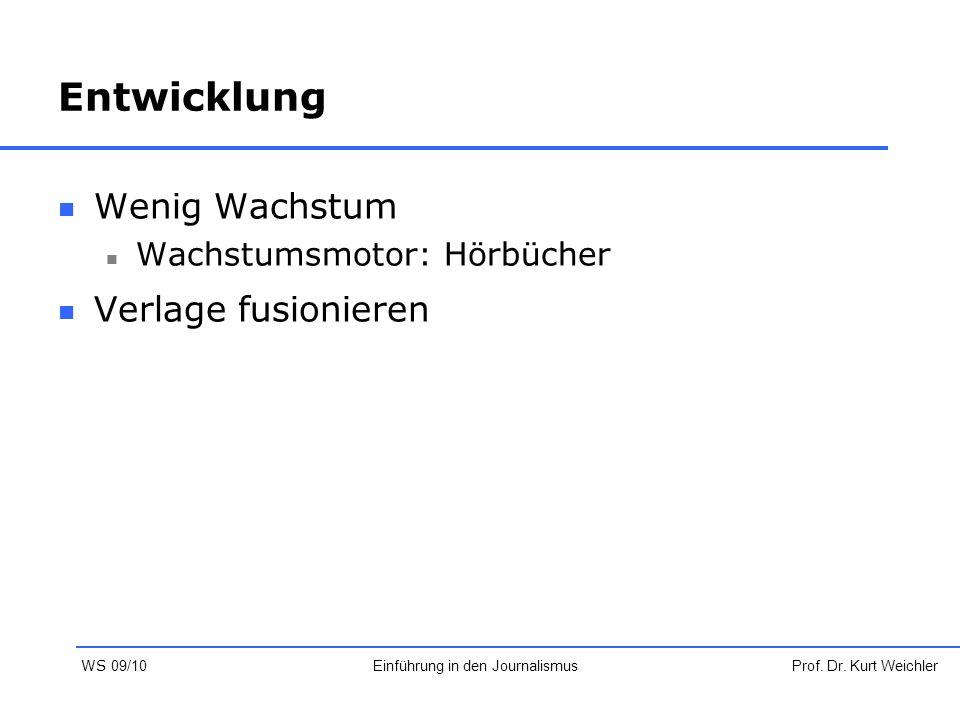 Entwicklung Wenig Wachstum Wachstumsmotor: Hörbücher Verlage fusionieren Prof. Dr. Kurt WeichlerEinführung in den Journalismus WS 09/10