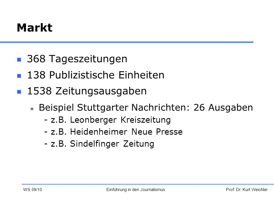 Markt 368 Tageszeitungen 138 Publizistische Einheiten 1538 Zeitungsausgaben Beispiel Stuttgarter Nachrichten: 26 Ausgaben -z.B. Leonberger Kreiszeitun