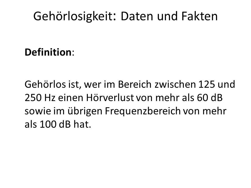 Gehörlosigkeit: Daten und Fakten Gehörlosigkeit in Deutschland In Deutschland leben ca.