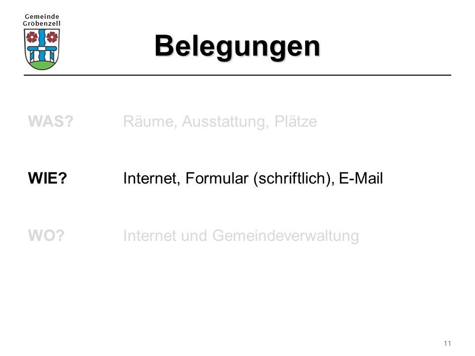 Gemeinde Gröbenzell 11 Belegungen WAS?Räume, Ausstattung, Plätze WIE?Internet, Formular (schriftlich), E-Mail WO?Internet und Gemeindeverwaltung