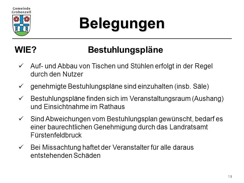 Gemeinde Gröbenzell 13 Belegungen WIE? Bestuhlungspläne Auf- und Abbau von Tischen und Stühlen erfolgt in der Regel durch den Nutzer genehmigte Bestuh