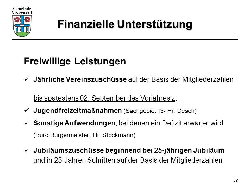 Gemeinde Gröbenzell 28 Freiwillige Leistungen Jährliche Vereinszuschüsse auf der Basis der Mitgliederzahlen bis spätestens 02. September des Vorjahres