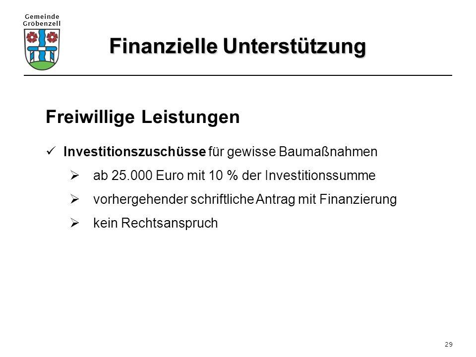 Gemeinde Gröbenzell 29 Freiwillige Leistungen Investitionszuschüsse für gewisse Baumaßnahmen  ab 25.000 Euro mit 10 % der Investitionssumme  vorherg