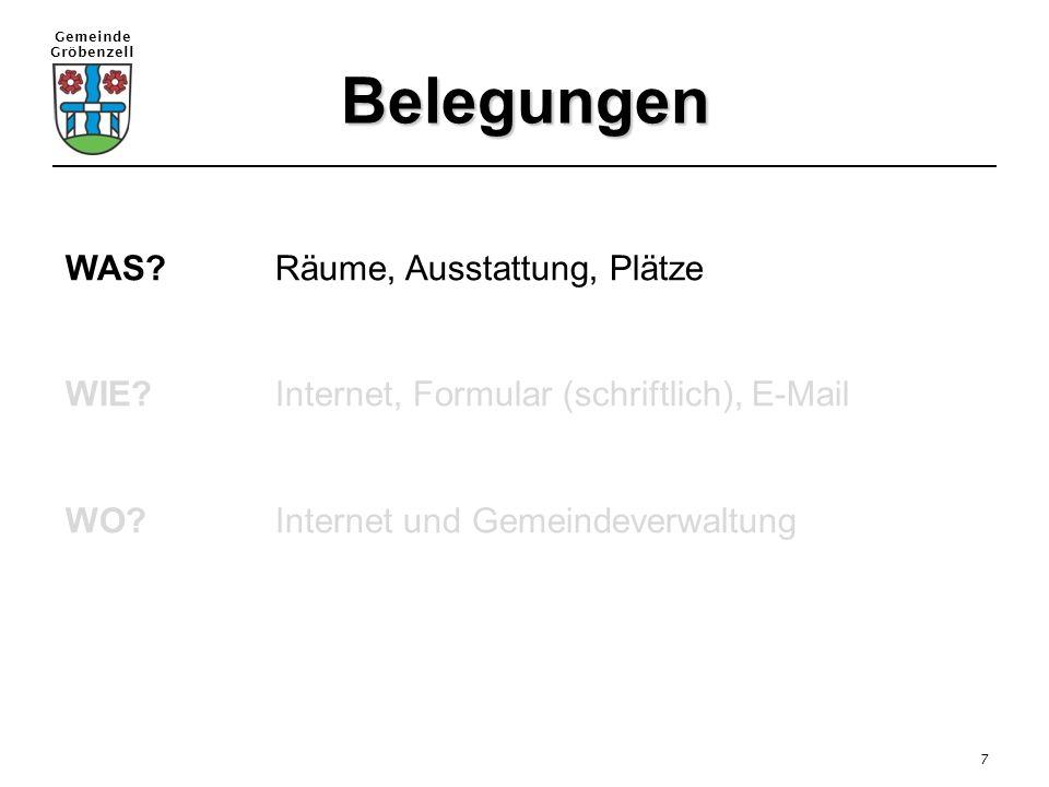 Gemeinde Gröbenzell 7 Belegungen WAS?Räume, Ausstattung, Plätze WIE?Internet, Formular (schriftlich), E-Mail WO?Internet und Gemeindeverwaltung