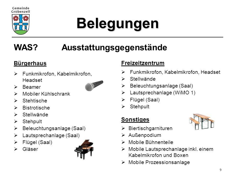 Gemeinde Gröbenzell 9 Belegungen WAS? Ausstattungsgegenstände Bürgerhaus  Funkmikrofon, Kabelmikrofon, Headset  Beamer  Mobiler Kühlschrank  Steht