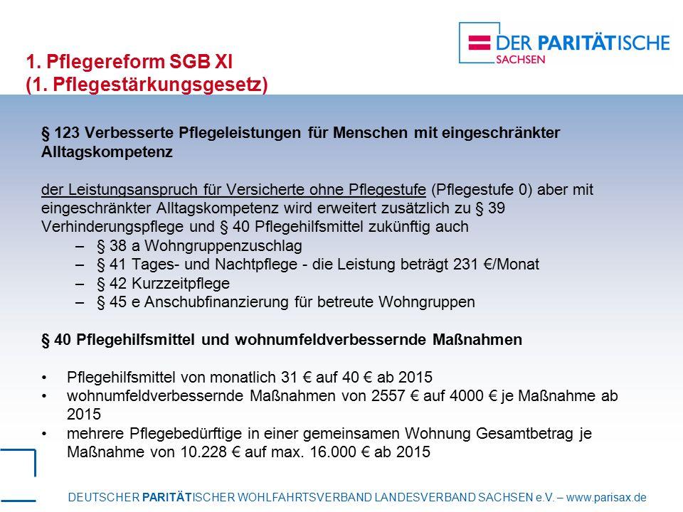 DEUTSCHER PARITÄTISCHER WOHLFAHRTSVERBAND LANDESVERBAND SACHSEN e.V. – www.parisax.de 1. Pflegereform SGB XI (1. Pflegestärkungsgesetz) § 123 Verbesse