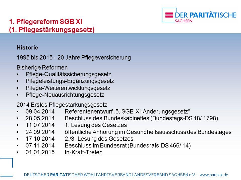 DEUTSCHER PARITÄTISCHER WOHLFAHRTSVERBAND LANDESVERBAND SACHSEN e.V. – www.parisax.de 1. Pflegereform SGB XI (1. Pflegestärkungsgesetz) Historie 1995