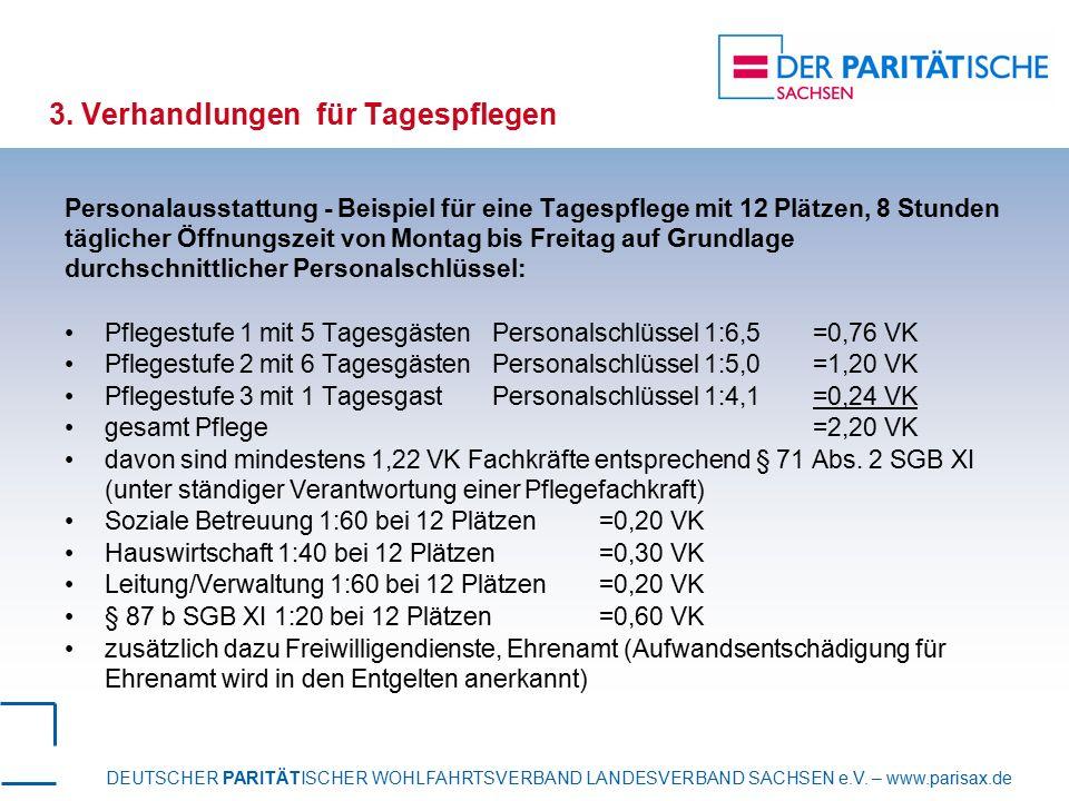 DEUTSCHER PARITÄTISCHER WOHLFAHRTSVERBAND LANDESVERBAND SACHSEN e.V. – www.parisax.de 3. Verhandlungen für Tagespflegen Personalausstattung - Beispiel