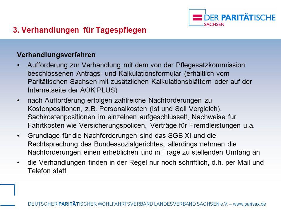 DEUTSCHER PARITÄTISCHER WOHLFAHRTSVERBAND LANDESVERBAND SACHSEN e.V. – www.parisax.de 3. Verhandlungen für Tagespflegen Verhandlungsverfahren Aufforde