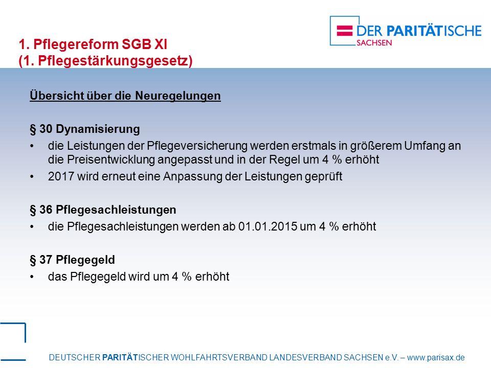 DEUTSCHER PARITÄTISCHER WOHLFAHRTSVERBAND LANDESVERBAND SACHSEN e.V. – www.parisax.de 1. Pflegereform SGB XI (1. Pflegestärkungsgesetz) Übersicht über
