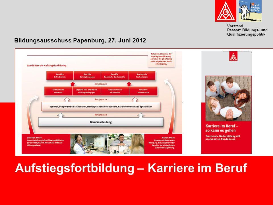 Vorstand Ressort Bildungs- und Qualifizierungspolitik Bildungsausschuss Papenburg, 27.