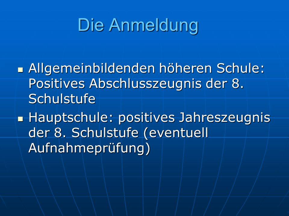 Die Anmeldung Allgemeinbildenden höheren Schule: Positives Abschlusszeugnis der 8.
