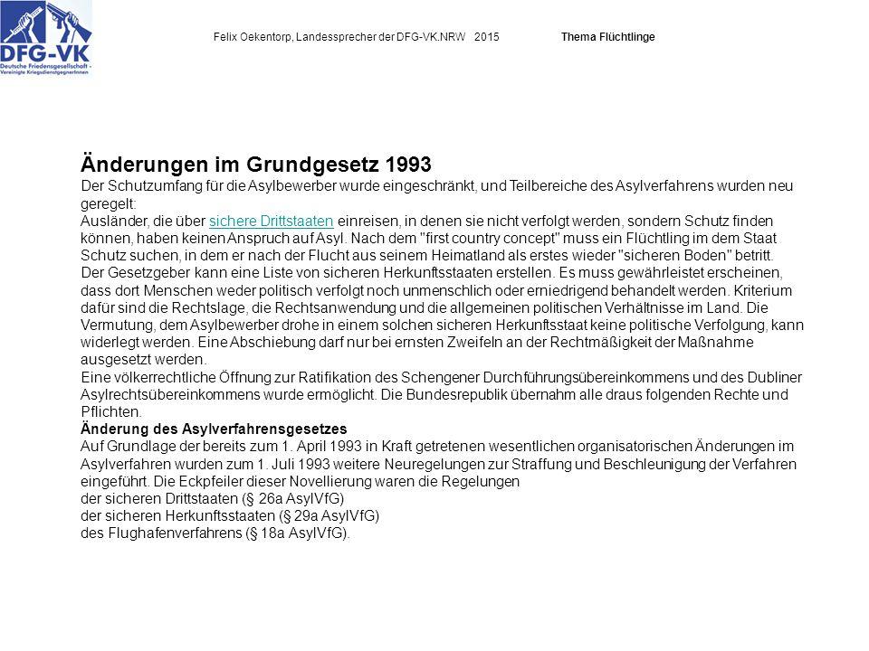 Felix Oekentorp, Landessprecher der DFG-VK.NRW 2015Thema Flüchtlinge Änderungen im Grundgesetz 1993 Der Schutzumfang für die Asylbewerber wurde eingeschränkt, und Teilbereiche des Asylverfahrens wurden neu geregelt: Ausländer, die über sichere Drittstaaten einreisen, in denen sie nicht verfolgt werden, sondern Schutz finden können, haben keinen Anspruch auf Asyl.
