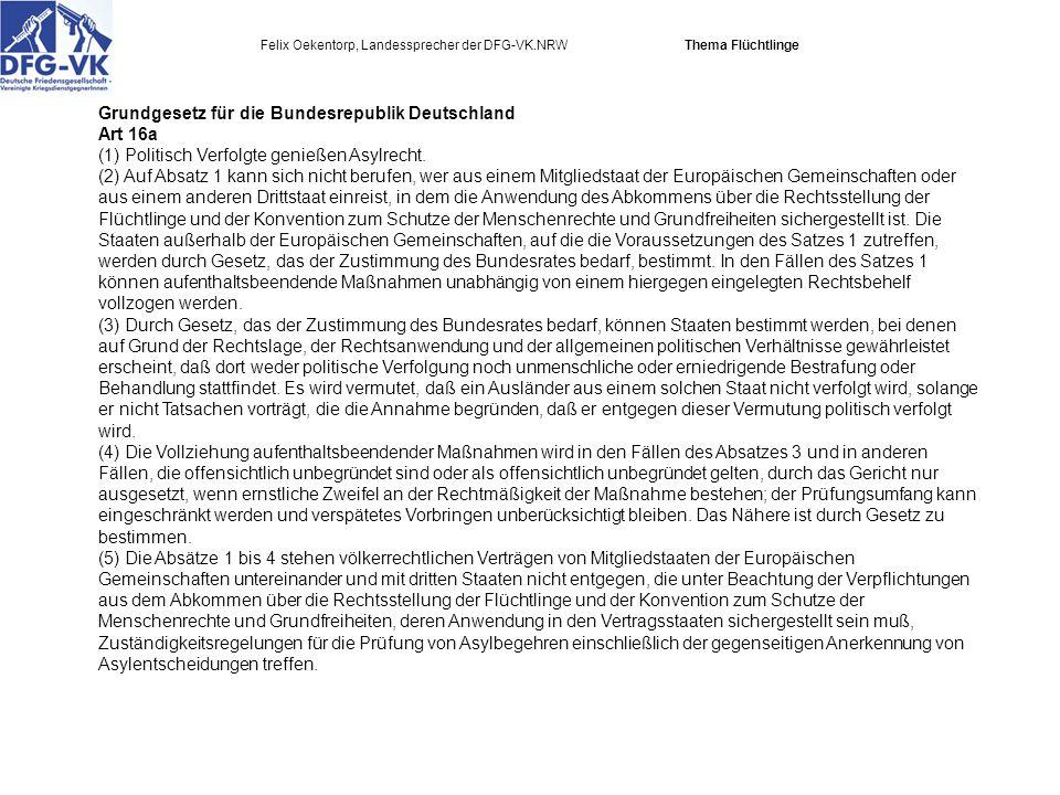 Felix Oekentorp, Landessprecher der DFG-VK.NRW Thema Flüchtlinge Grundgesetz für die Bundesrepublik Deutschland Art 16a (1) Politisch Verfolgte genießen Asylrecht.