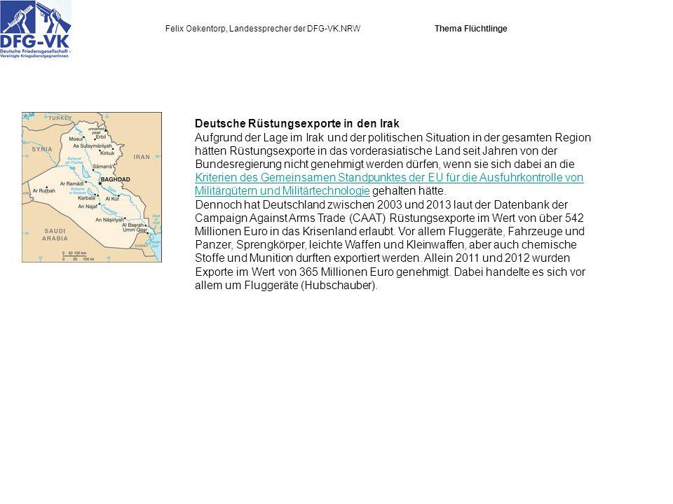 Deutsche Rüstungsexporte in den Irak Aufgrund der Lage im Irak und der politischen Situation in der gesamten Region hätten Rüstungsexporte in das vorderasiatische Land seit Jahren von der Bundesregierung nicht genehmigt werden dürfen, wenn sie sich dabei an die Kriterien des Gemeinsamen Standpunktes der EU für die Ausfuhrkontrolle von Militärgütern und Militärtechnologie gehalten hätte.