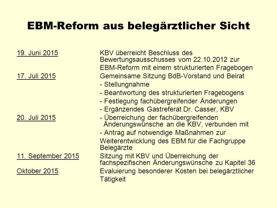 EBM-Reform aus belegärztlicher Sicht 19. Juni 2015KBV überreicht Beschluss des Bewertungsausschusses vom 22.10.2012 zur EBM-Reform mit einem strukturi