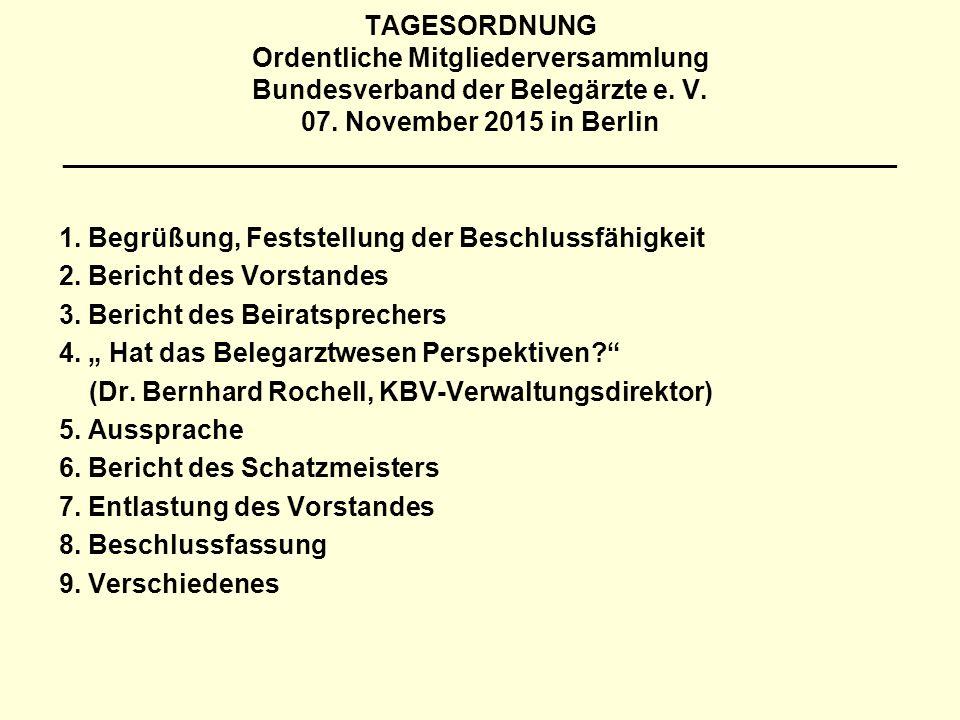 TAGESORDNUNG Ordentliche Mitgliederversammlung Bundesverband der Belegärzte e. V. 07. November 2015 in Berlin ________________________________________