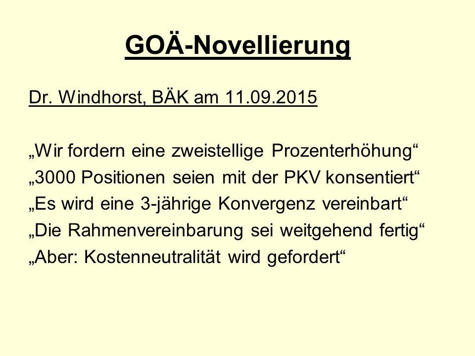 """GOÄ-Novellierung Dr. Windhorst, BÄK am 11.09.2015 """"Wir fordern eine zweistellige Prozenterhöhung"""" """"3000 Positionen seien mit der PKV konsentiert"""" """"Es"""