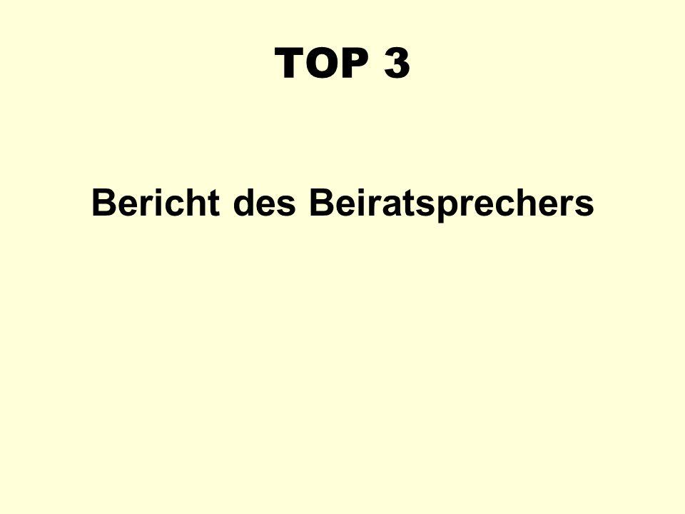 TOP 3 Bericht des Beiratsprechers