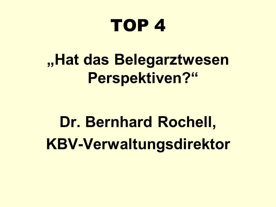 """TOP 4 """"Hat das Belegarztwesen Perspektiven?"""" Dr. Bernhard Rochell, KBV-Verwaltungsdirektor"""
