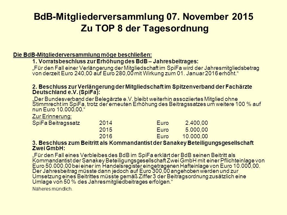 BdB-Mitgliederversammlung 07. November 2015 Zu TOP 8 der Tagesordnung Die BdB-Mitgliederversammlung möge beschließen: 1. Vorratsbeschluss zur Erhöhung
