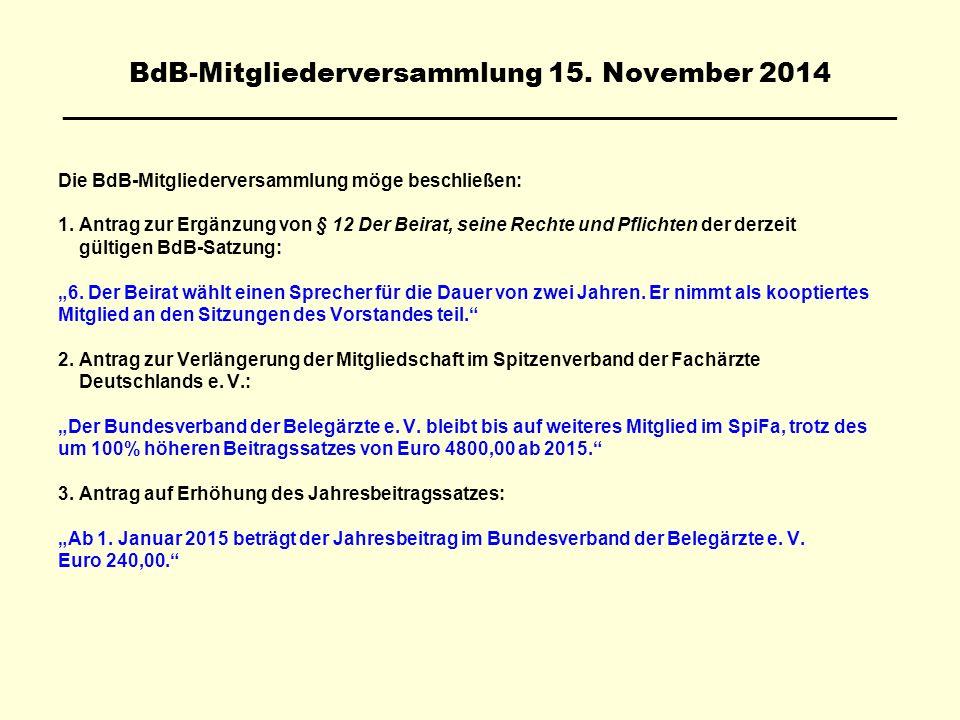 BdB-Mitgliederversammlung 15. November 2014 ________________________________________________________ Die BdB-Mitgliederversammlung möge beschließen: 1