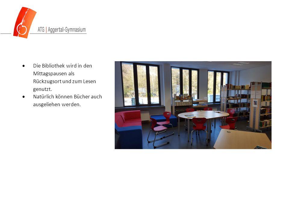  Die Bibliothek wird in den Mittagspausen als Rückzugsort und zum Lesen genutzt.