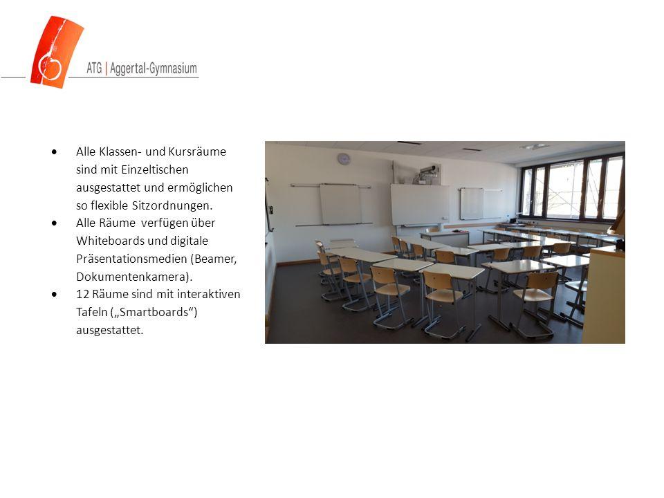  Alle Klassen- und Kursräume sind mit Einzeltischen ausgestattet und ermöglichen so flexible Sitzordnungen.