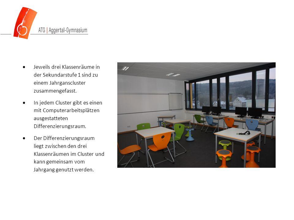  Jeweils drei Klassenräume in der Sekundarstufe 1 sind zu einem Jahrganscluster zusammengefasst.