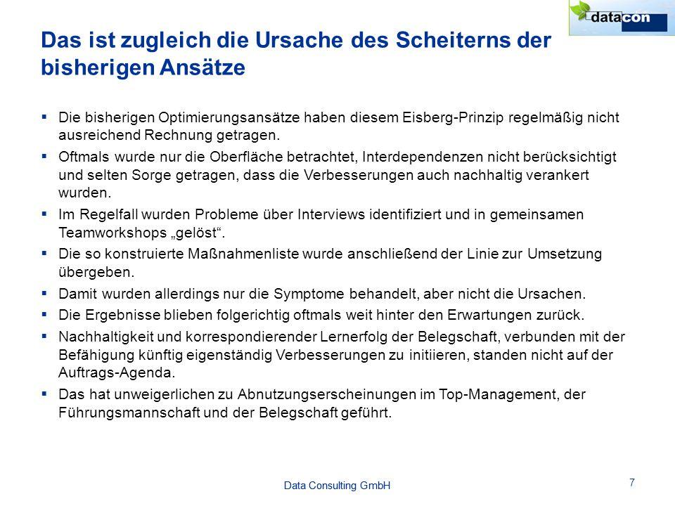 Data Consulting GmbH 7  Die bisherigen Optimierungsansätze haben diesem Eisberg-Prinzip regelmäßig nicht ausreichend Rechnung getragen.  Oftmals wur