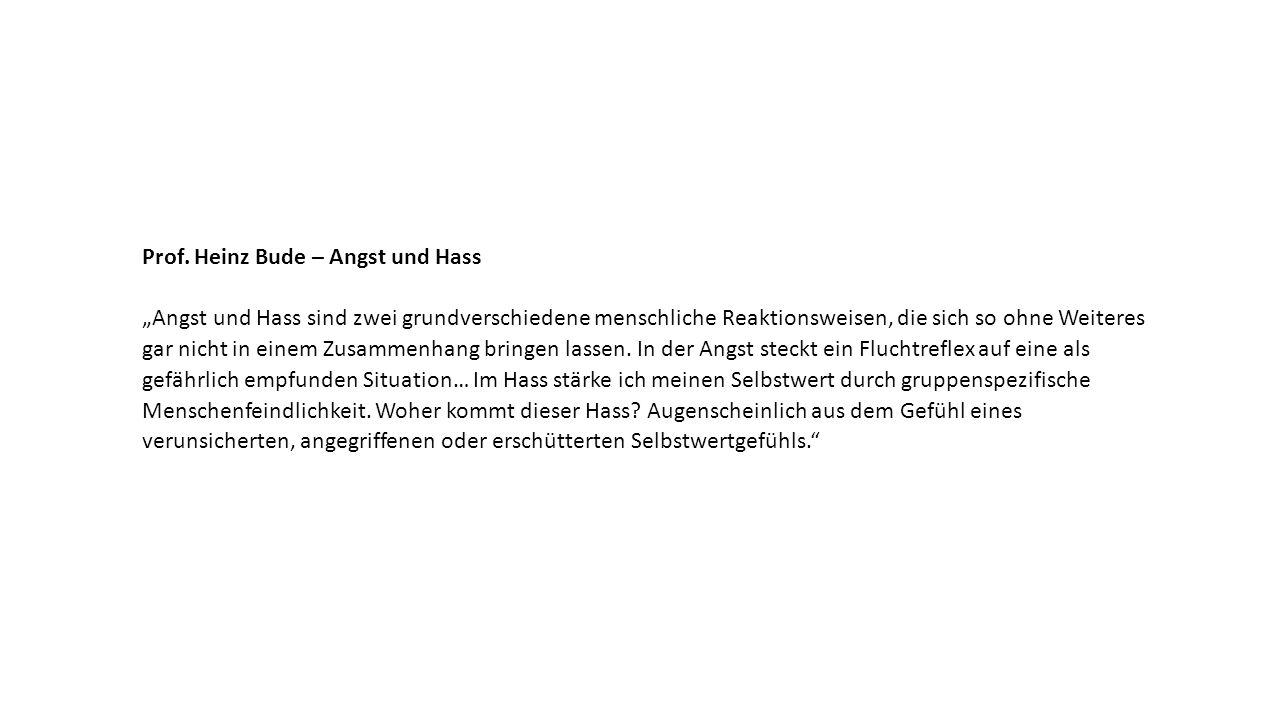 """Prof. Heinz Bude – Angst und Hass """"Angst und Hass sind zwei grundverschiedene menschliche Reaktionsweisen, die sich so ohne Weiteres gar nicht in eine"""
