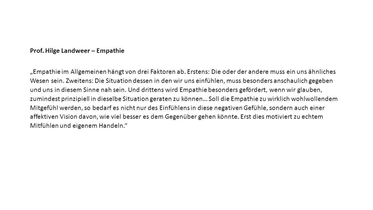 """Prof. Hilge Landweer – Empathie """"Empathie im Allgemeinen hängt von drei Faktoren ab."""
